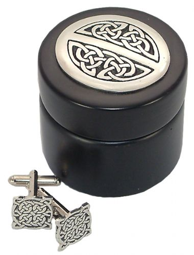 Celtic Knot Cufflinks In Wooden Box